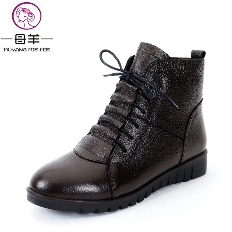 Image 2 - MUYANG MIE/зимняя женская обувь размера плюс (35 43) женские ботильоны из натуральной кожи на плоской подошве зимние ботинки женские ботинки-in Полусапожки from Обувь
