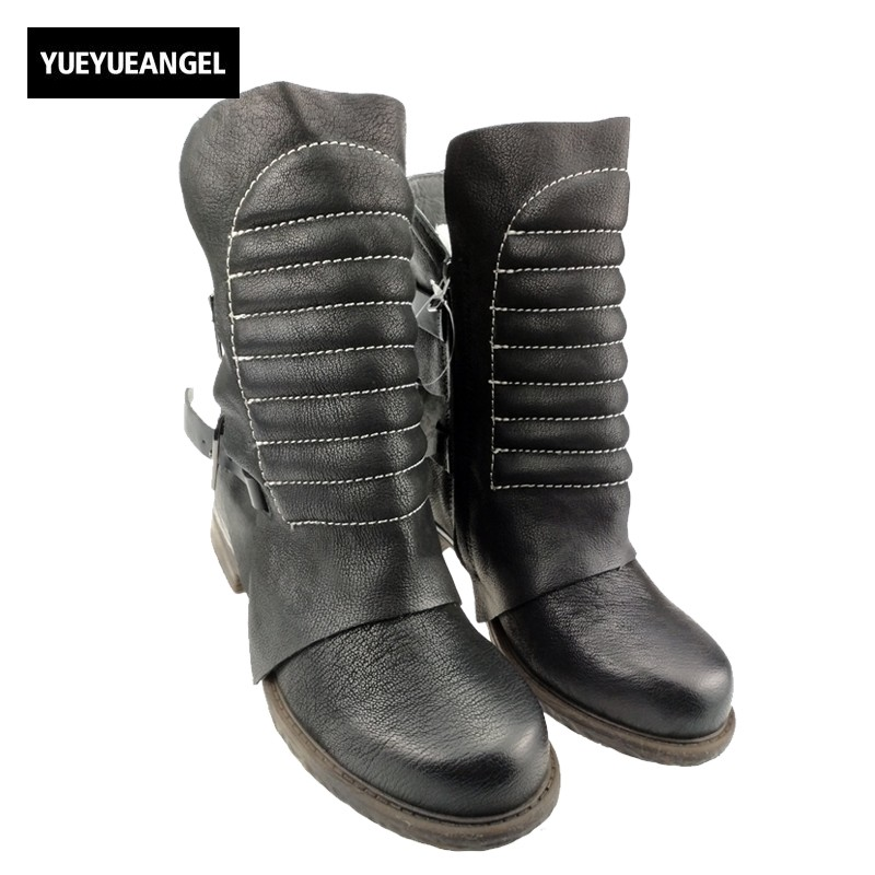 Womens Real Leather Round Toe Ankle Boots For Woman Vintage Genuine Leather Buckle Punk Thick Heels Motocycle Combat Boots Size
