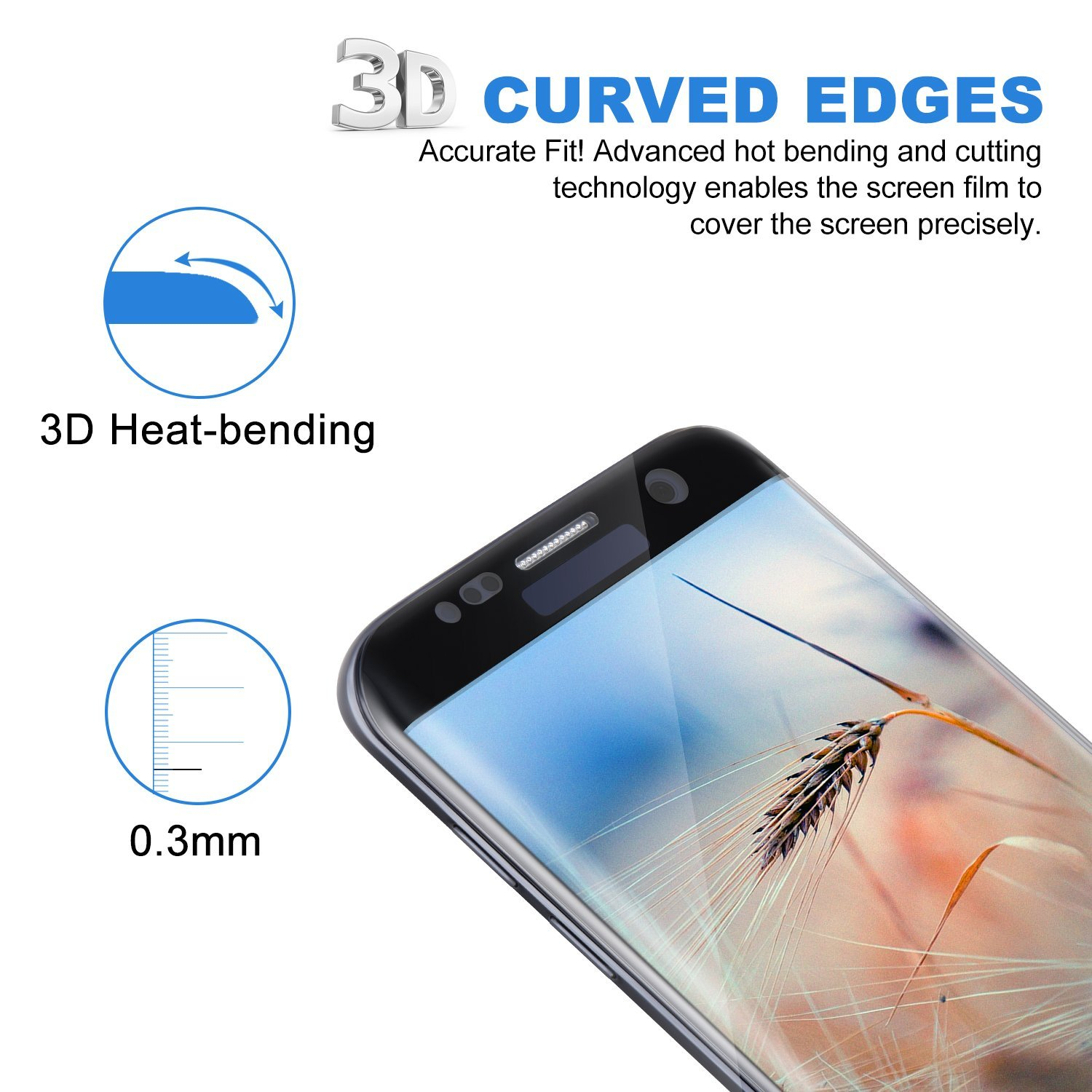 1PCS Tempered Glass For Samsung Galaxy S7 Edge Anti Explosion Screen Protector for Galaxy S7 Edge 3D Curved Full Cover Flim in Phone Screen Protectors