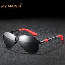 MYMARCH Aluminum Magnesium Polarized Sunglasses men Fashion Driving Sun Glasses Vintage Sports Pilot Oculos De Sol Eyewear UV400