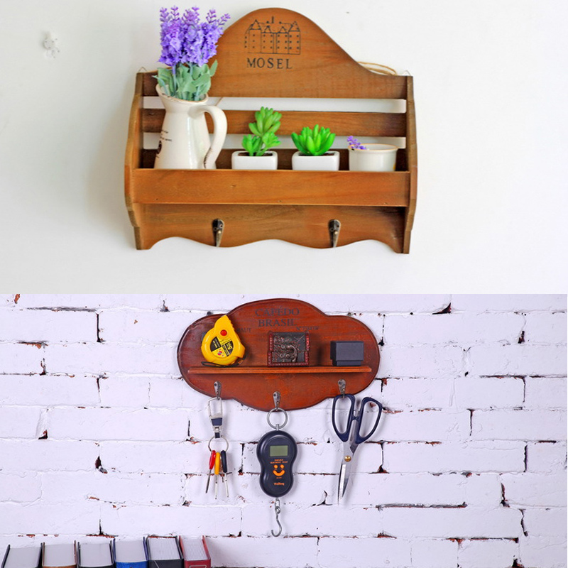 Multi Functional Wooden Wall Shelf Storage Holders With Hooks Retro Home Decoration Wood Crafts