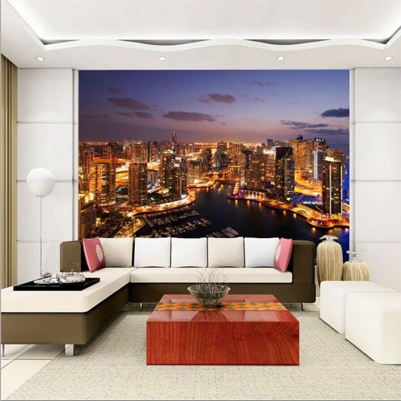 Free Shipping Large living room sofa TV wall mural wallpaper 3D City nightscape wallpaper mural