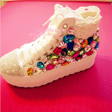 Free shipping 2016 Lace Rainbow Gem Rhinestone handmade canvas high-top platform shoes female models
