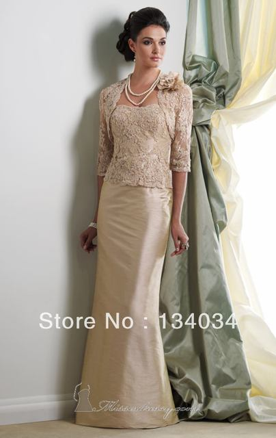 Hot Ing Sample Design Beige Lace Top Dress With Jacket Mother Of The Bride