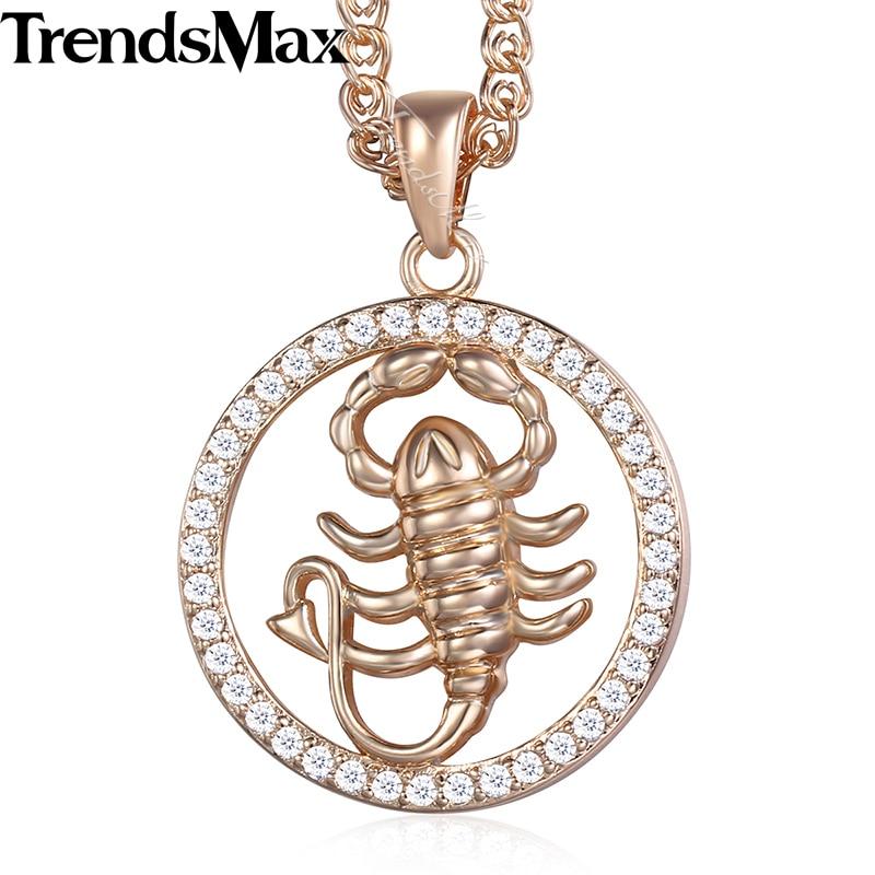 Scorpio 12 Zodiac Sign Constellation Womens Necklace 585 Rose Gold Color Cubic Zirconia Pendant Necklace For Women Men KGP186 ...
