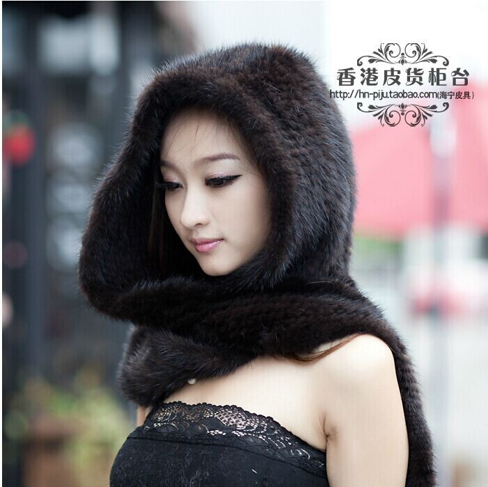 Free Shipping The New Winter 2014 Ms Mink Hat Scarf Conjoined Pure Manual Weaving Fur Fur Scarf Hat In Winter To Keep Warm