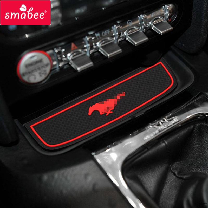 For Ford Mustang 2015 Accessories, 3D Rubber Car Mat Car Anti Slip Mat, Non-slip Mats Interior Door Pad/Cup Mat