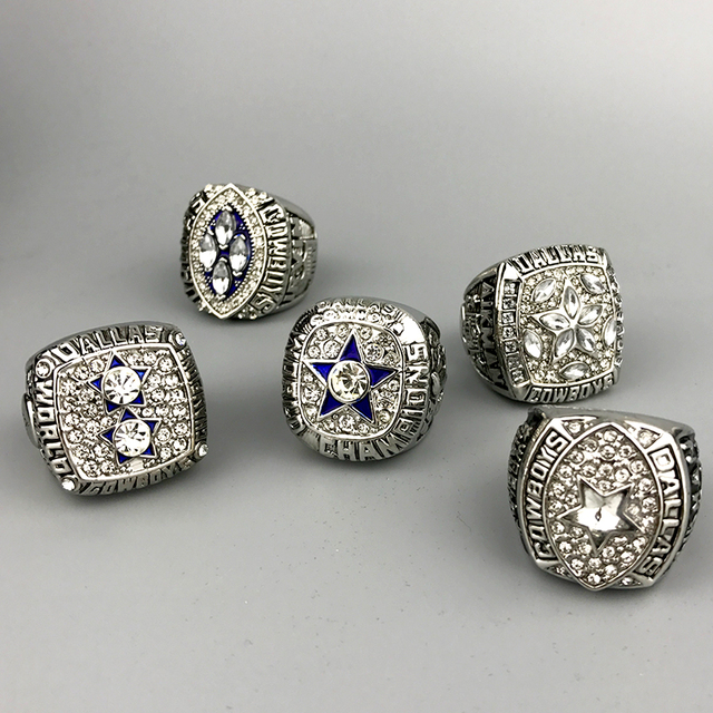 Fast delivery for US businessman 1971/1977/1992/1993/1995 super bowl silver Dallas Cowboys Championship Ring full set