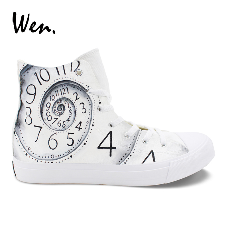 Wen High Top White Woman Casual Canvas Shoes Hand Painted Custom Shoes Clock Time Designs Man Sneakers Tie Up Rubber Soled wen giraffe canvas shoes classic white hand painted animal sneakers sports high top skateboarding shoes for man woman