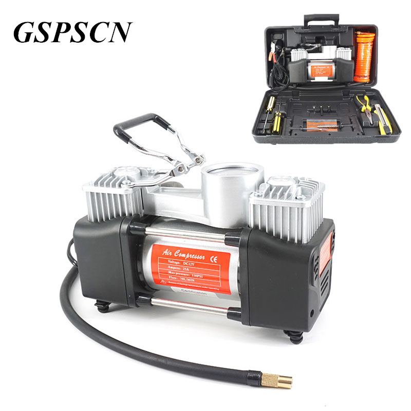 Multi-Function Powerful Twin Cylinder Car Inflatable Pump with Suitcase Air Compressor Portable Toolbox Metal Inflatable Pump