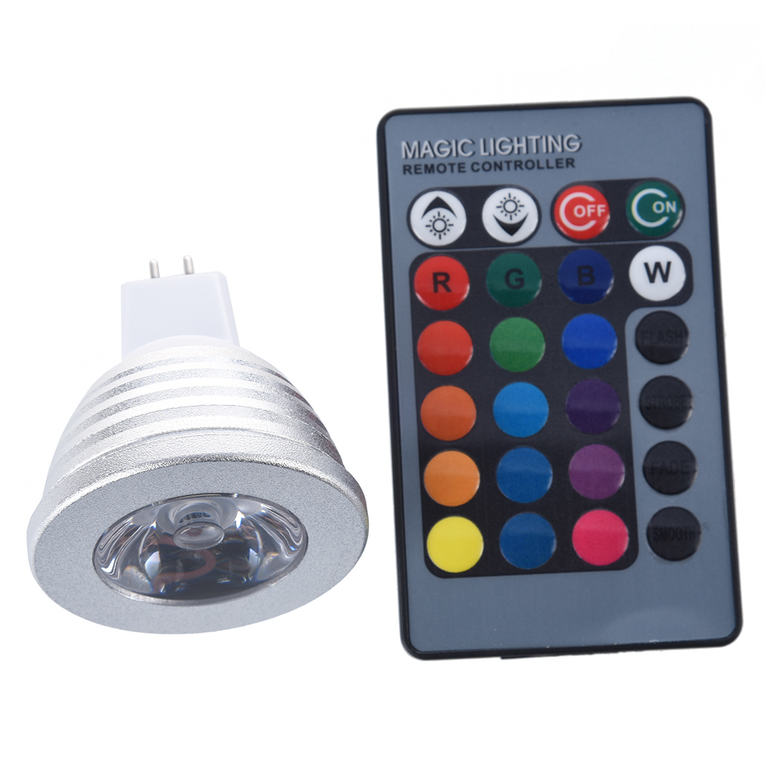 1x MR16 3W 16 Color RGB LED Light Bulb Lamp + IR Remote Control