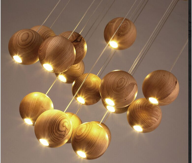 Modern Solid Wood Pendant Lamp Chinese Nordic Wooden Ball Light ...