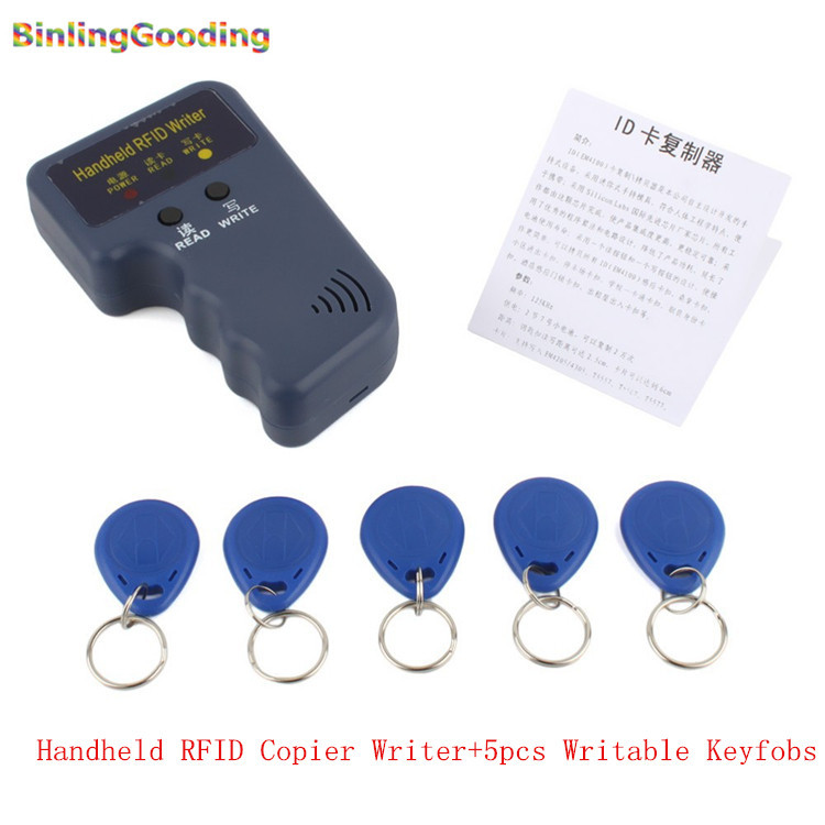 Handheld 125KHz RFID Copier Writer RFID Duplicator EM ID Copier + 5 Pcs EM4305/T5577/CET5200 Rewritable Keyfobs