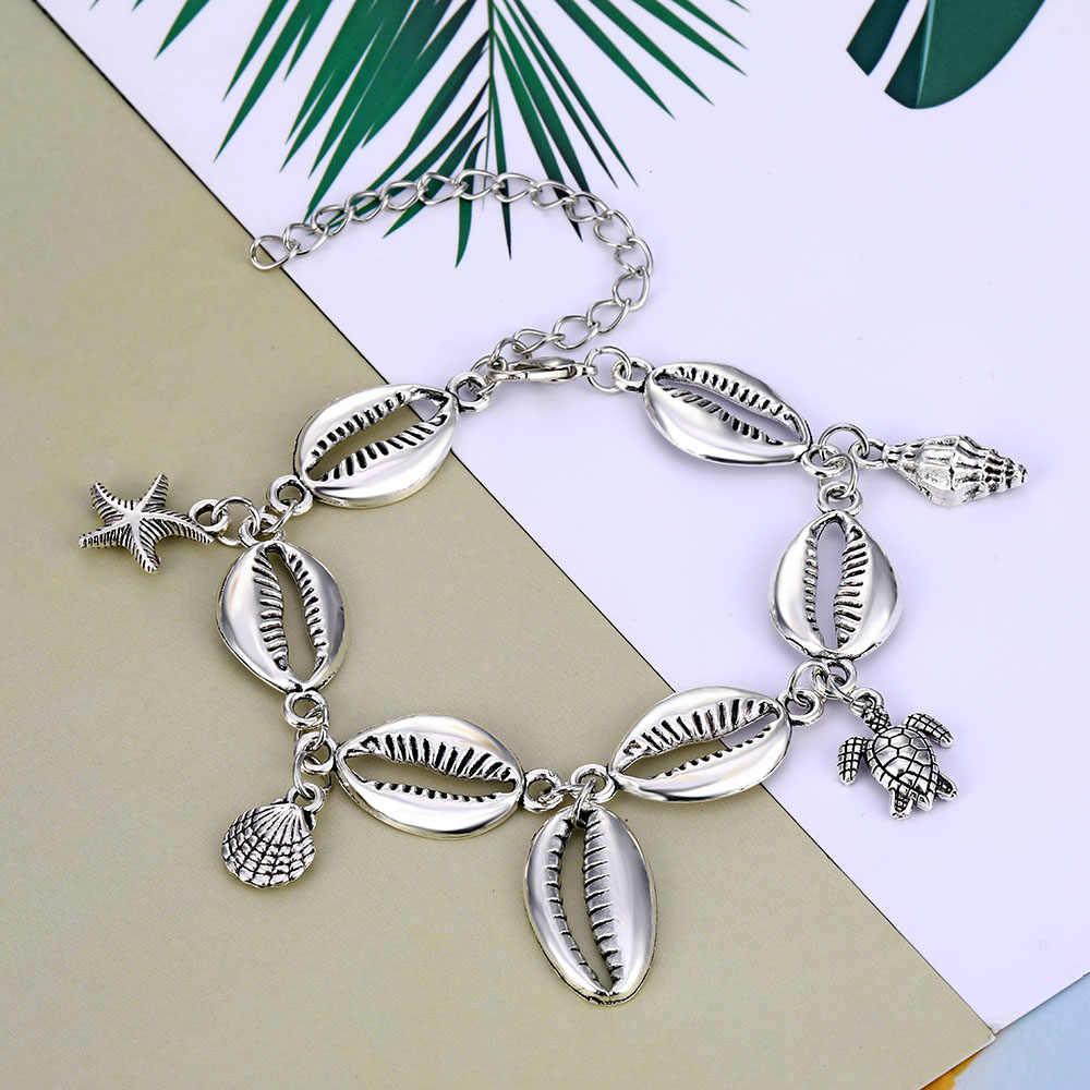 FAMSHIN Summer Beach kolor srebrny Turtle Shell obrączki dla kobiet czeski Anklet bransoletki na nogę kobieta biżuteria na stopy 2019