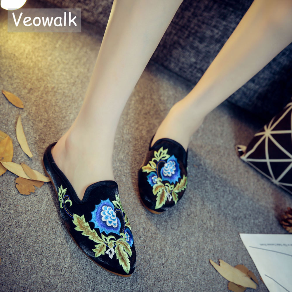 Veowalk Floral Embroidered Women's Pointed Toe Flannel Cotton Mules Shoes Summer Fashion Ladies Casual Comfort Slip-on Flats