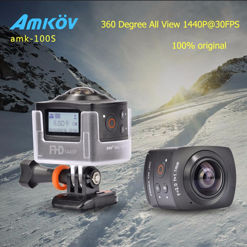 New Arrival AMKOV 100S AMK100S 360 Degree All View 1440P 30FPS HD WiFi Sport font b