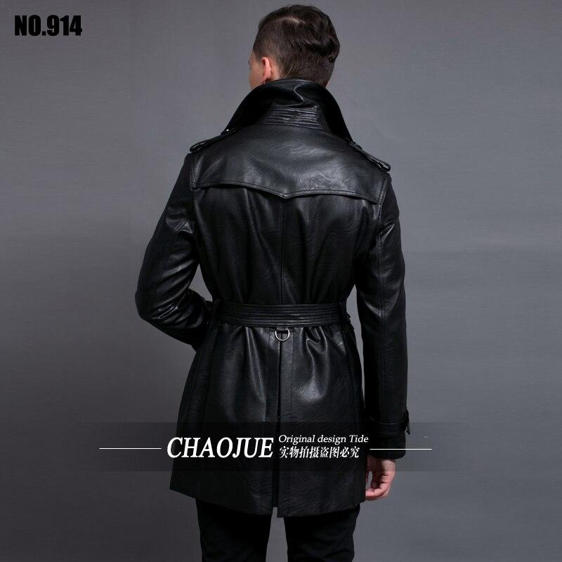 Boutonnage Manteaux Noir Vêtement Cuir S Hommes De Motard Grande Taille Pour Double Slim Trench coat En 6xl Nouvelle Veste 2019 6yvYbf7g