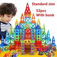 52 גודל סטנדרטי יח'\סט צעצועי DIY 3D אבני בניין בנייה מגנטית מגנטי מעצב לבנים חינוכיים מתנה לילד