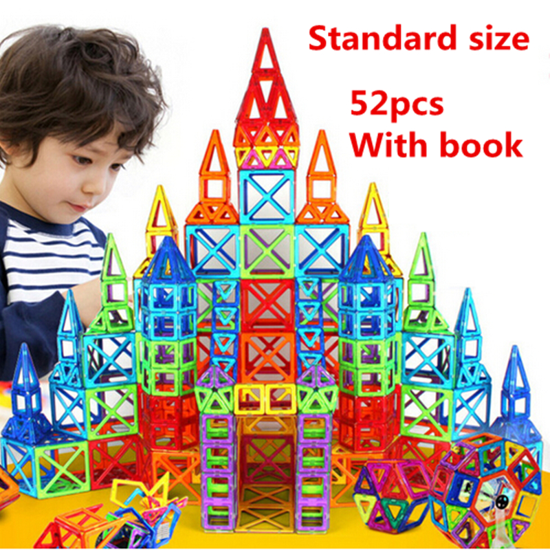 52pcs/set Standard size Magnetic Construction Building Blocks Toys DIY 3D Magnetic Designer Educational Bricks Gift For Kid cheerlink zm 81 3mm neodymium iron diy educational toys set silver 81 pcs