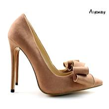 Aiyoway Elegant Women Ladies Bow Pointed Toe High Heel Pumps Wedding Party Dress Shoes light Brown Faux Suede US Size 5-15