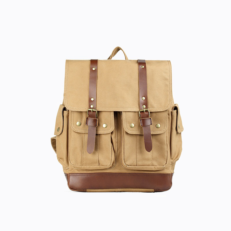 2018 New Retro Style Men's Shoulder Bag Canvas Bag With Leather Backpack Out-Door Casual Travel Bag Computer Bags Multi-Function 2018 new retro style men s shoulder bag canvas bag with leather backpack out door casual travel bag computer bags multi function