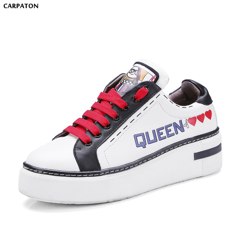 Carpaton 2018 New The Same Star White Shoes PU Leather Thick Bottom Women Shoes Fashion Red shoelace Cartoon doodle Style cartoon airplane style red