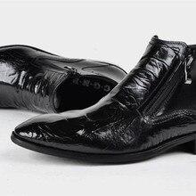 Платье кожаные туфли с узором «крокодиловая кожа» кожаные ботильоны обувь на молнии мужские туфли кожаные туфли ботинки «мартенс»