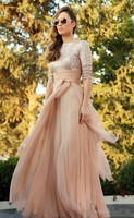 Arab Muslim Champagne High Neck Collar A Line Chiffon Prom Dresses 2016 Stunning Sequins Half Sleeves Evening Gowns