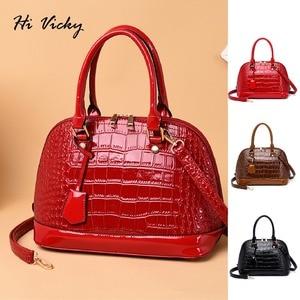 Image 1 - 2019 Famous brand design handbag women fashion Red tote bag high quality Patent leather shoulder handbag ladies office Shell bag