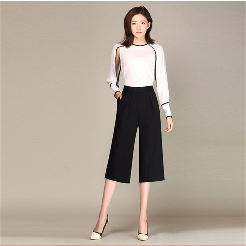 Trend lady brand casual   pants   Summer Europe Russia girls black Packets High waist Elastic band   Wide     leg     pants   Cropped trousers