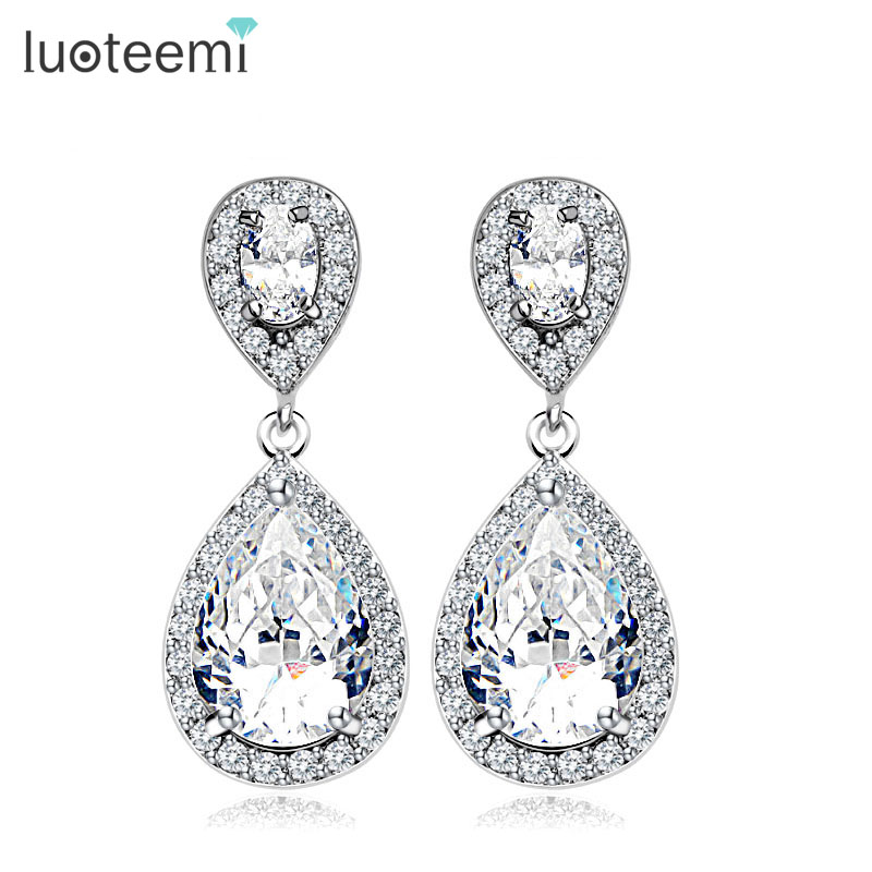 LUOTEEMI High Quality AAA Cubic Zircon Drop Earrings with Micro CZ around Luxury Wedding Jewelry for