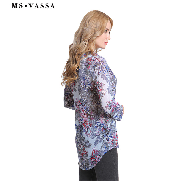 Casual shirts print long sleeve V-neck ladies loose Blouses  3