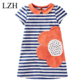 LZH Cute Baby Kids Girls 2016 Summer fashion Short Sleeve  Dress Peter pan Collar Sunflower Striped  Dress Clothes
