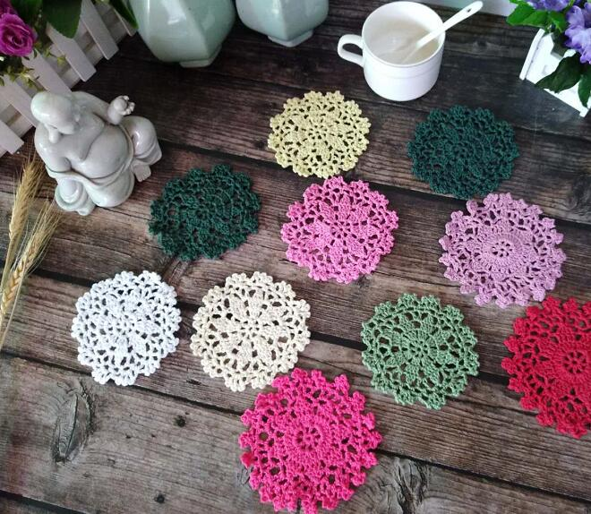 Luxury round cotton placemat cup coaster mug kitchen drink table place mat cloth lace Crochet tea dish doily Handmade pot pad in Mats Pads from Home Garden