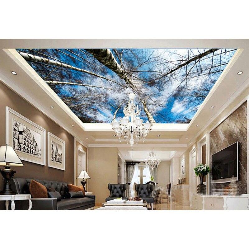 Wallpaper House Beautiful: Beautiful Ceiling Wallpaper Art Decoration For Living Room