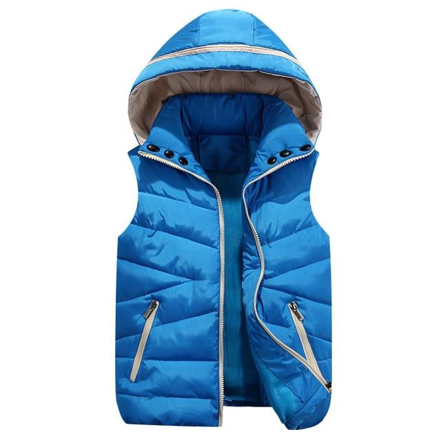 Women sleeveless Vest Feminino  Winter Women Hat jacket hood Cotton Padded Veste For lover waistcoat Plus Size 3XL
