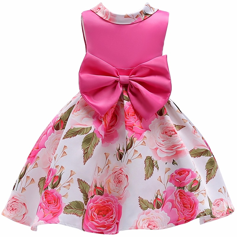 Hot Sale Bow Striped Princess Of Girls Baby Reception Formagirls Clothes Ball Gown For Girl Dress Knee-length Style 2-12year