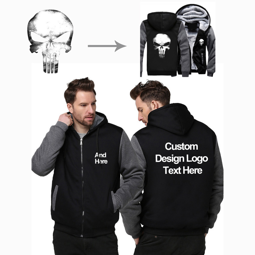 USA Größe Benutzerdefinierte Mens Hoodies DIY Print LOGO Design Hoodie Winter Fleece Verdicken Mantel Jacke Sweatshirts Großhändler Drop Verlader