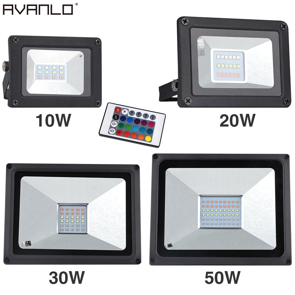 AC176-264V 10W 20W 30W 50W RGB/ Cold White / Warm White LED Flood Light Exterior Spotlight IP65 LED Outdoor Projector Light