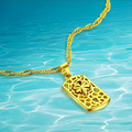 Carving exquisite decorative pattern card pendant necklace, high quality  real 24 k gold plated necklace women  fashion jewelry