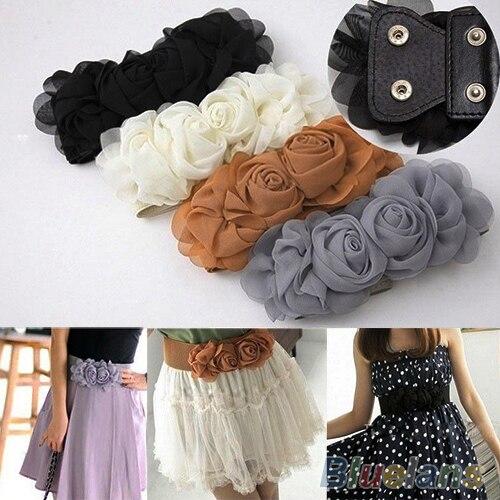 Women's Fashion Flower Elastic Stretch Waist Belt Wide Stretch Waistbands  7F5A 9C2A