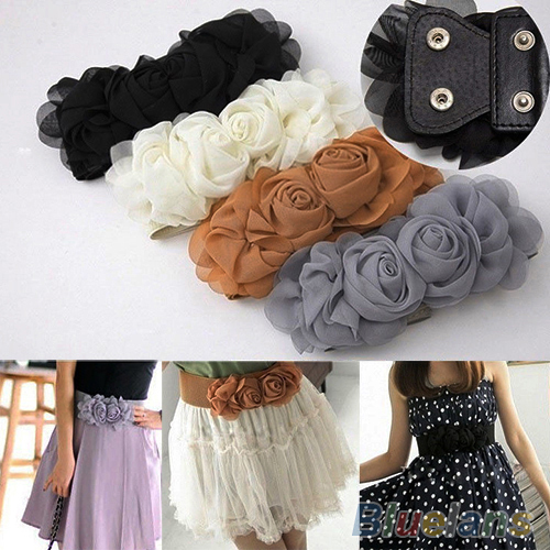 Women's Fashion Flower Elastic Stretch Waist   Belt   Wide Stretch Waistbands 7F5A 9C2A
