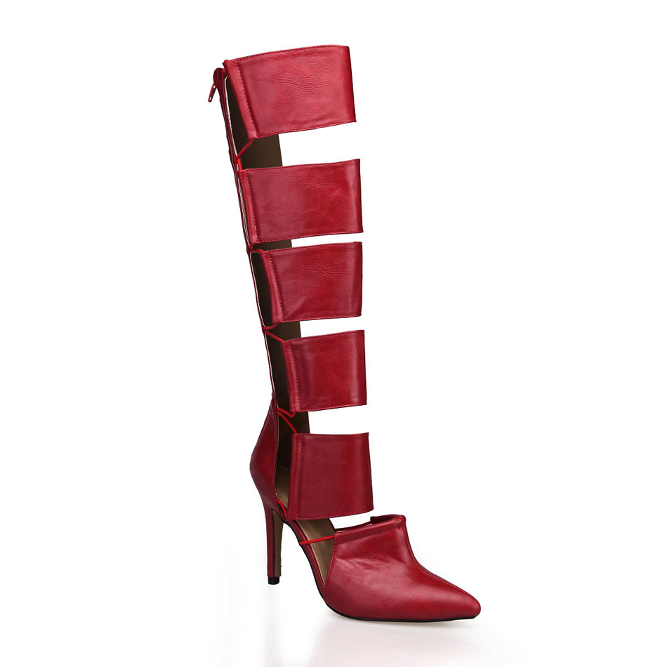 2016 Winter Burgundy Sexy Party Shoes Women Pointed Toe Thin Heels Gladiator Rome Lady Knee-High Boots Zapatos Mujer 70887bt-m1