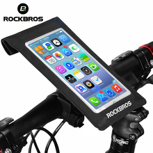 ROCKBROS 6.0″ Bicycle Phone Bag Touchscreen For Cycling Bike Handlebar Front Head Tube Waterproof Pannier Mobile Smartphone Bag