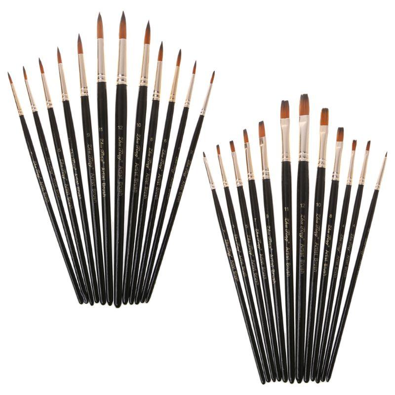 12pcs/Set Paint Brush Wooden Acrylic Painting Gouache Cosmetic Art Kit Drawing Pens