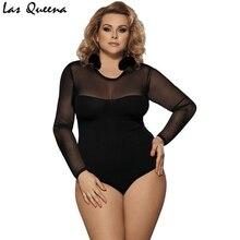 Transparent Women Teddy Lingerie Adjustable Open Crotch Sexy Plus Size Solid Bodysuit Long Sleeve Female