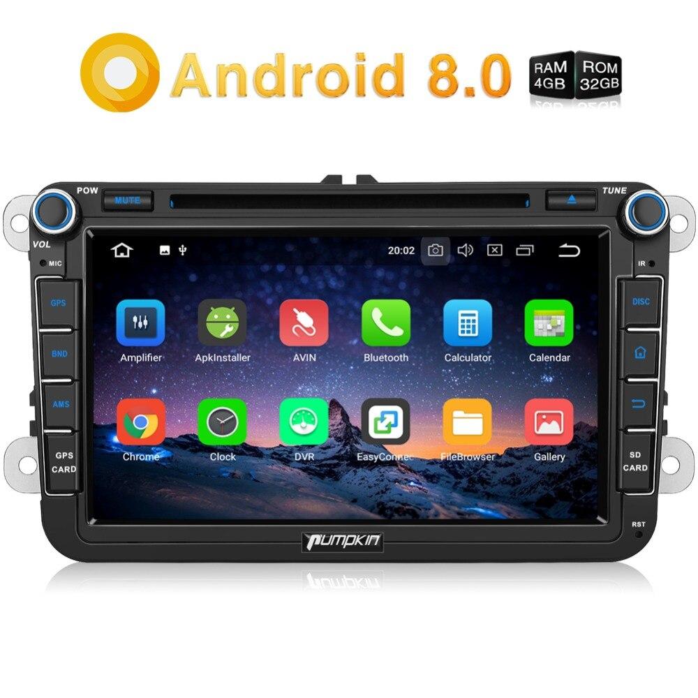 Pumpkin2 Din 8''Android 8.0 Voiture lecteur dvd gps 4G RAM Voiture Stéréo Audio Pour Volkswagen/Skoda/Golf/Polo wifi FM Rds Radio Headunit