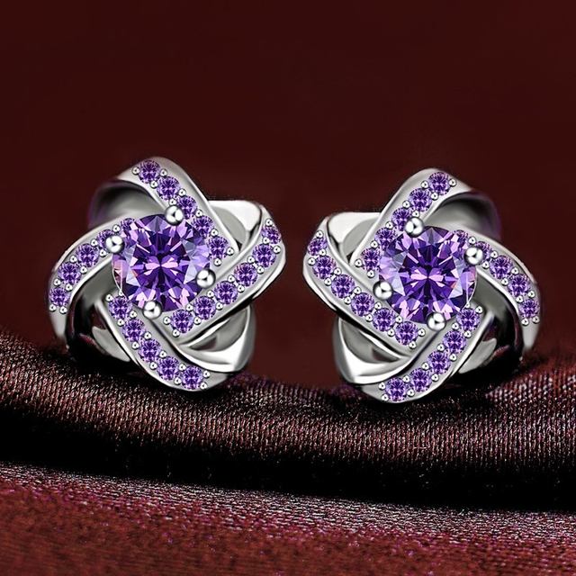 LIAMTING Women's 925 Sterling Silver Earrings With Purple Cubic Zircon High Quality 100% Real Silver Stud Earrings Jewelry VC079