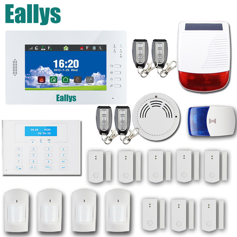 868MHZ Wireless GSM Alarm System 7 inch touch screen home alarm with Bulit-in Lithium Battery with wireless outdoor solar siren 868mhz wireless gsm alarm system 7 inch touch screen home alarm with bulit in lithium battery with wireless outdoor solar siren