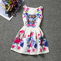2017 Kids Dresses For Girls Owl Print Sleeveless Casual Dresses Teenagers Clothes Retro Floral Princess Girls Dresses Summer